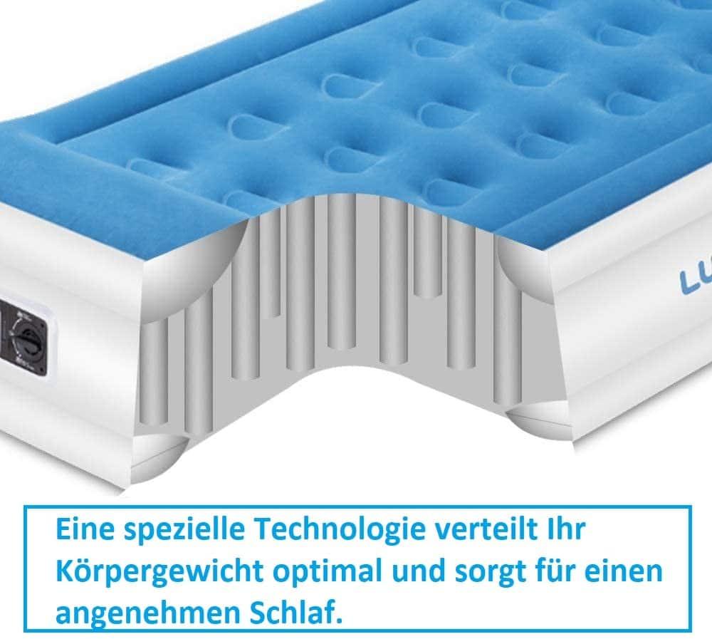 Lunvon Luftbett mit eingebaute Pumpe Spulentechnologie